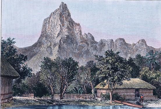 PAYSAGE DE L'ARCHIPEL TAHITIEN - vue prise a Moorea devant le mont Rutui