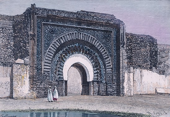MAROC : LA PORTE DU CHRÉTIEN, MARRAKECH, Marocco, gravure, stich