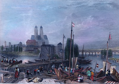 CANAL OF THE LOIRE AND CHER, France, Tours, old print, engraving