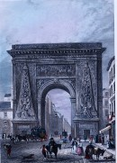 LA PORTE ST DENIS, France, Paris, engraving, print, plates,