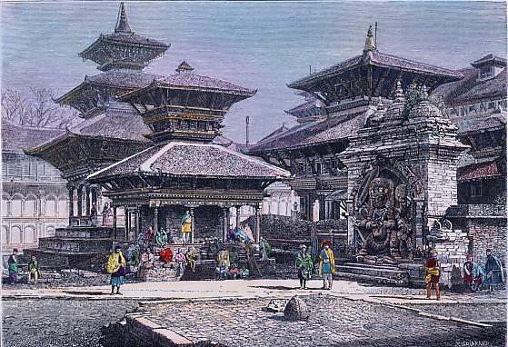 KATMANDOU, Asia, India, old print, engraving, plates