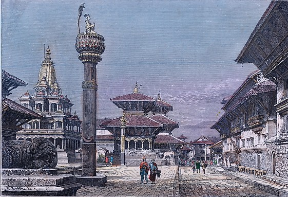 PATAN, India, old print, engraving, plates