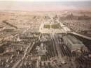 PARIS EN 1860 Vue à vol d'oiseau du dessus du rond-point des Champs-Elysées