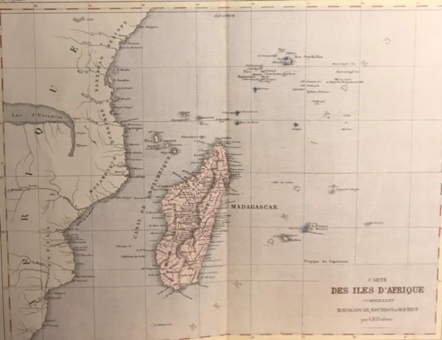 CARTE DES ILES D'AFRIQUE comprenant MADAGASCAR, BOURBON et MAURICE